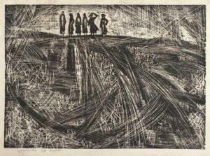 "Златка Дъбова /1927-1997/ ""Добружанска шир"", Е/А. дърворез, хартия. 49х69 см."
